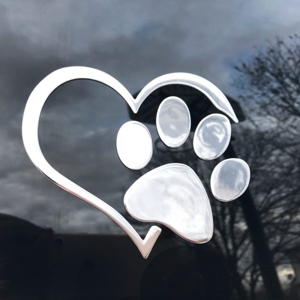 3D Heart And Paw Car Decal Chrome