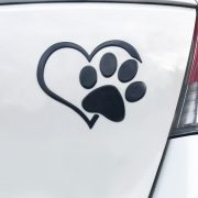 3D Heart And Paw Car Decal Black