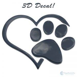 3D Heart And Paw Decal Black