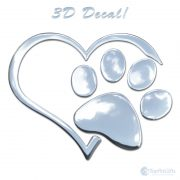 3D Heart And Paw Sticker Decal Chrome