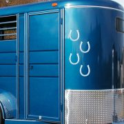 3D horseshoe decal sticker on horse trailer
