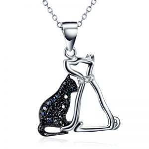Sterling Silver Dog And Cat Necklace