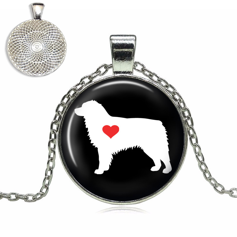 Australian Shepherd Love Glass Dome Necklace