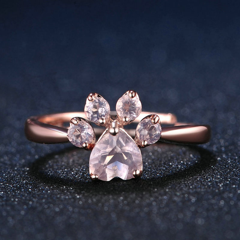 Adjustable Pink Rose Quartz Ring