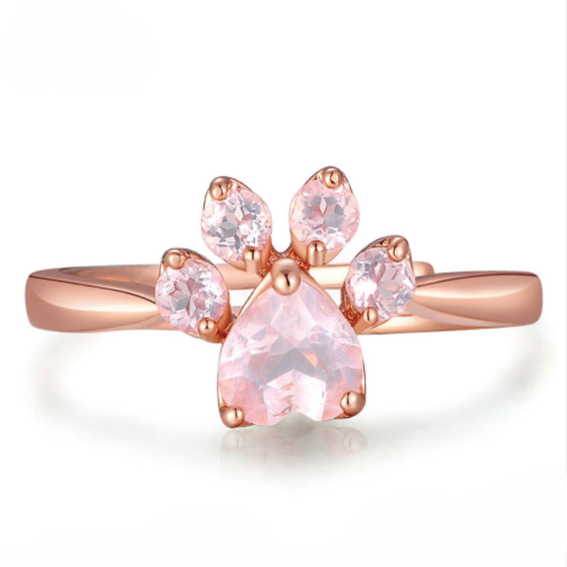 Adjustable Pink Rose Quartz Ring