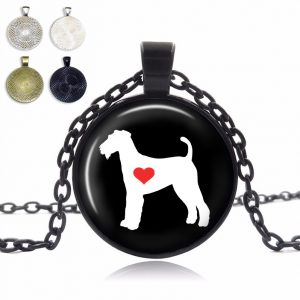 Airdale Terrier Love Glass Dome Necklace