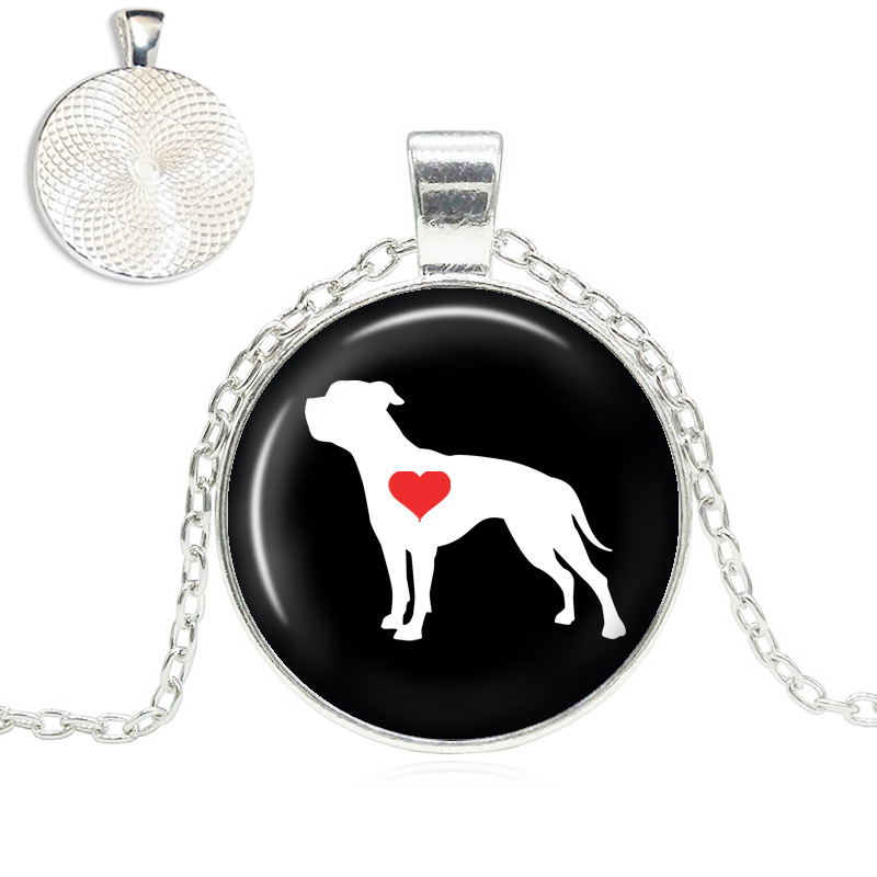 American Bulldog Love Glass Dome Necklace