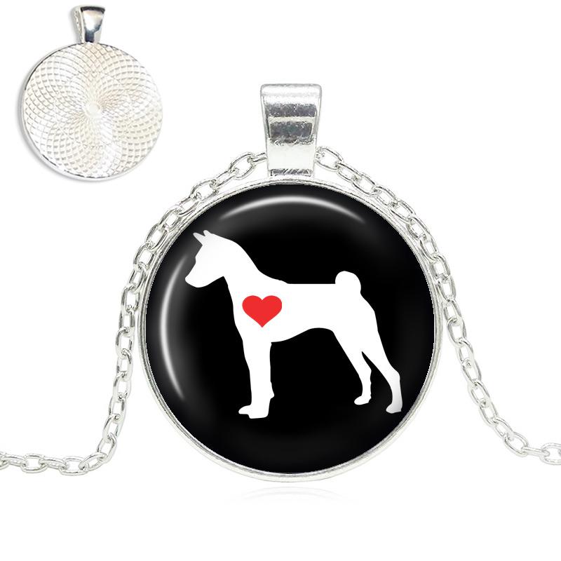 Basenji Love Glass Dome Necklace