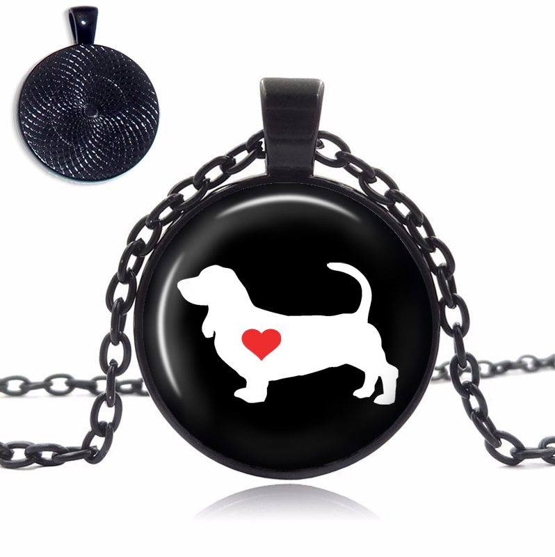Basset Hound Love Glass Dome Necklace