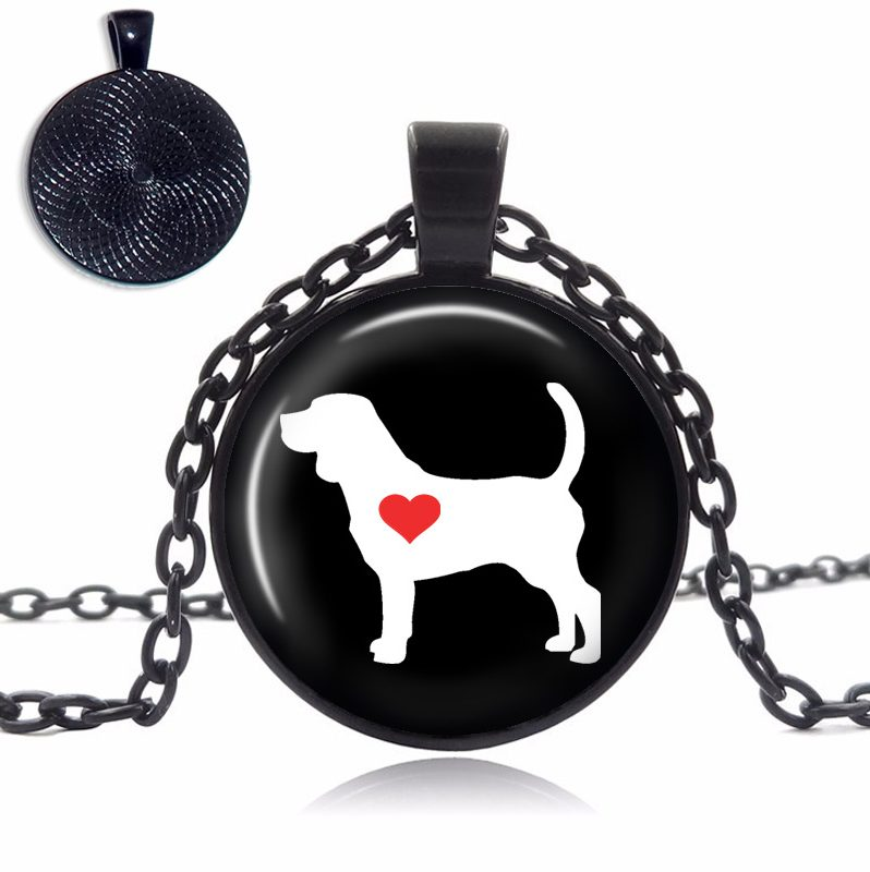 Beagle Love Glass Dome Necklace