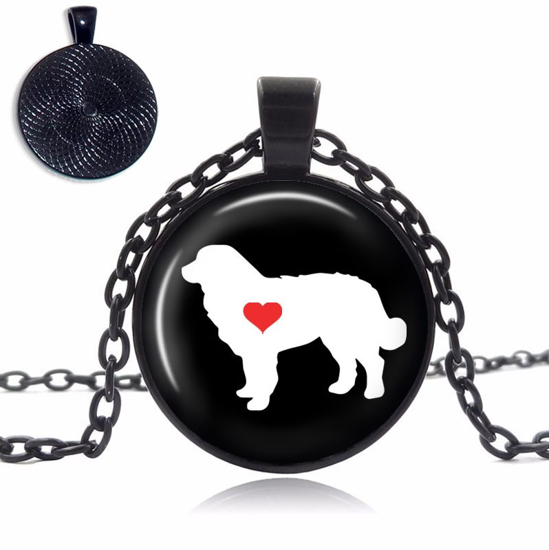 Bernese Mountain Love Glass Dome Necklace
