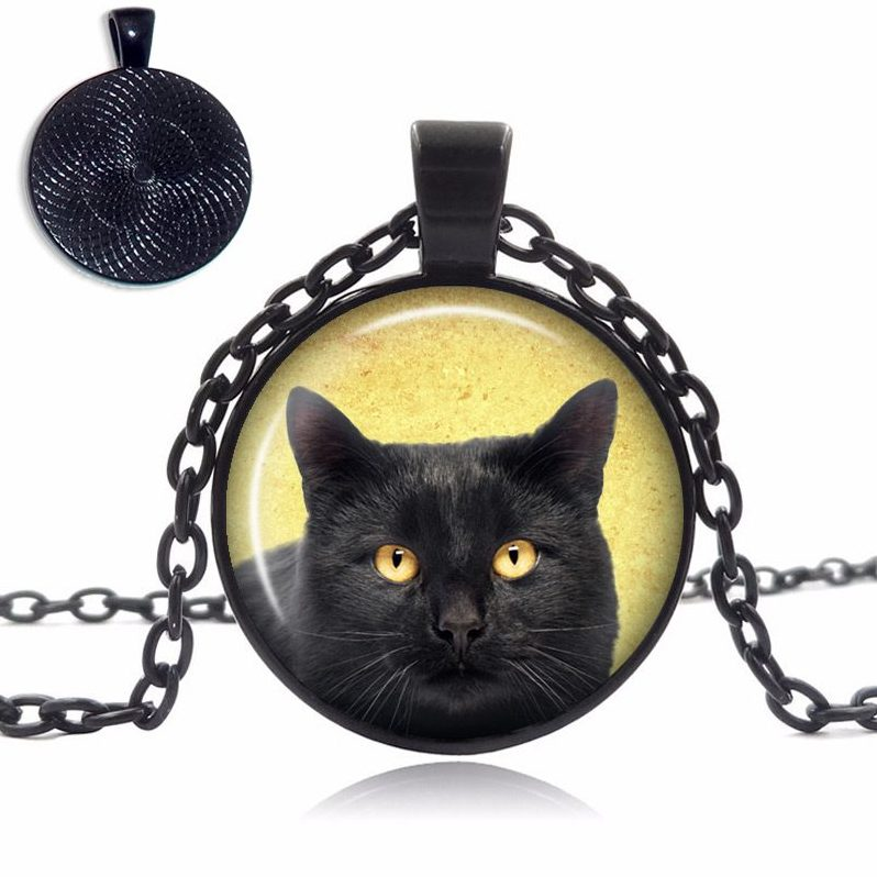 Black Cat Glass Dome Necklace