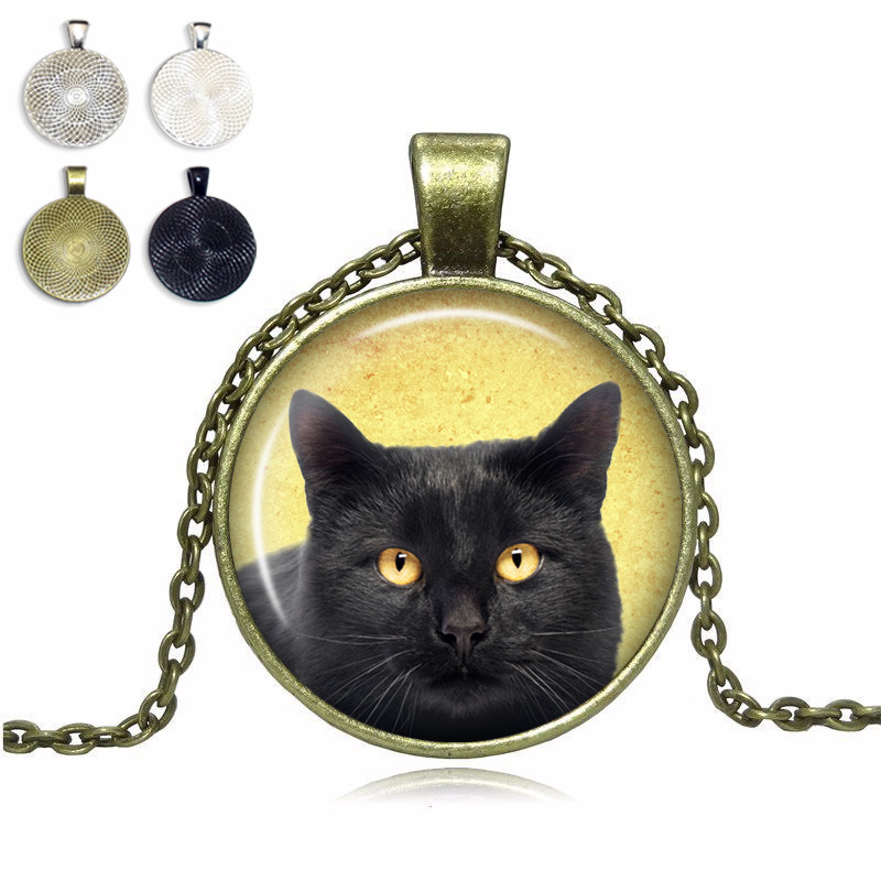 Black cat glass dome necklace top pet gifts black cat glass dome necklace aloadofball Image collections