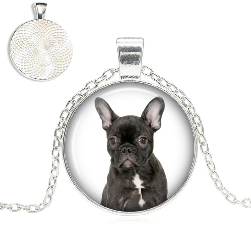 Black French Bulldog Glass Dome Necklace