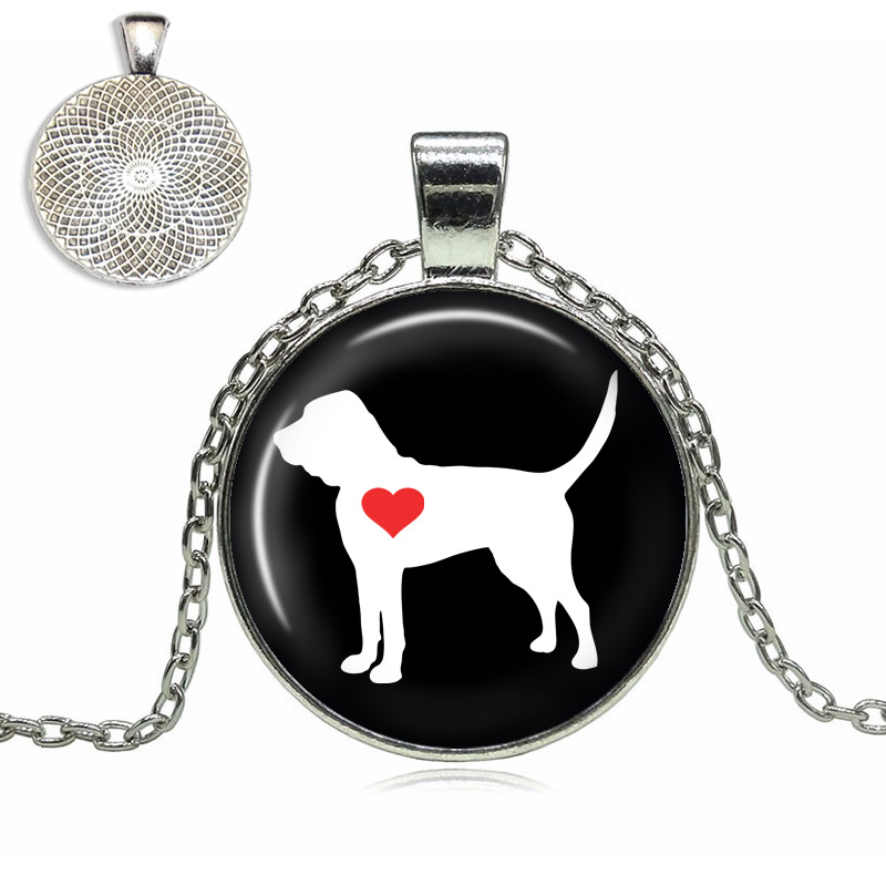 Bloodhound Love Glass Dome Necklace