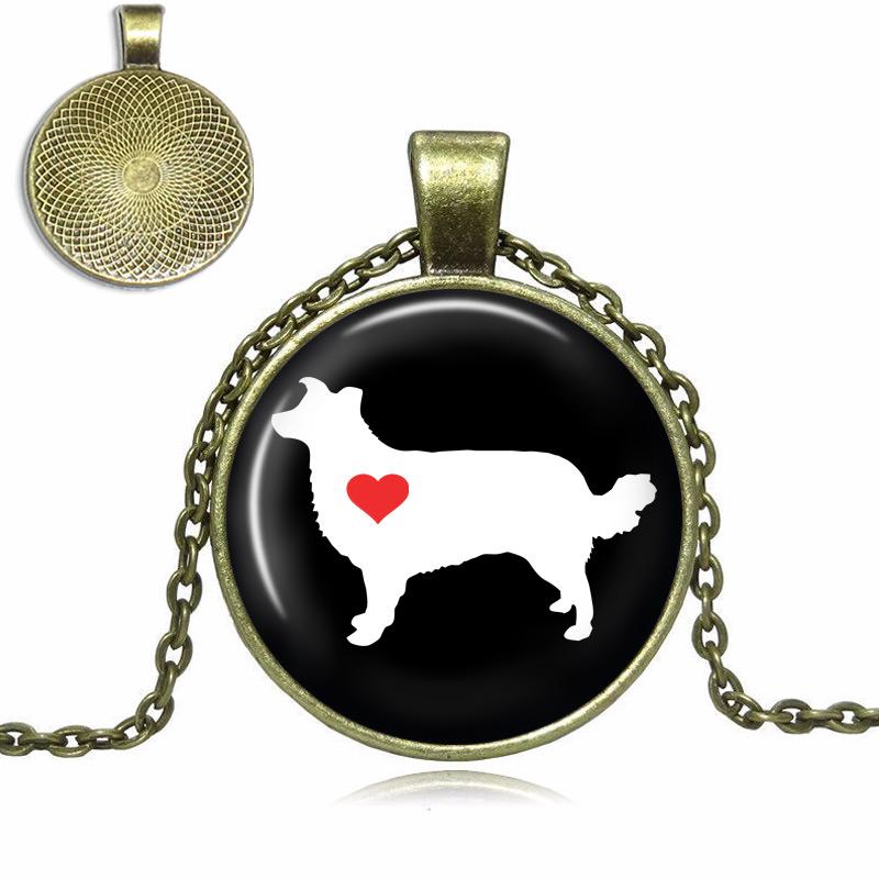 Border Collie Love Glass Dome Necklace