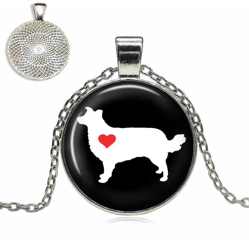 Border Collie Love Glass Dome Necklace