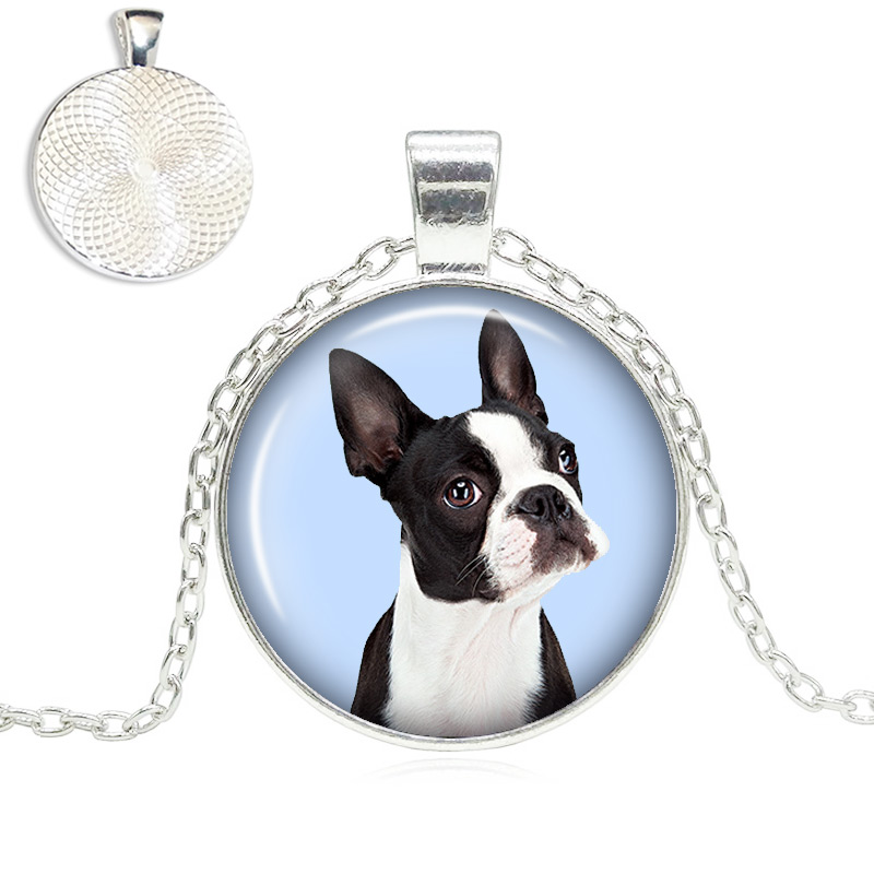 Boston Terrier Glass Dome Necklace