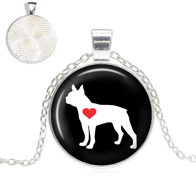 Boston Terrier Love Glass Dome Necklace