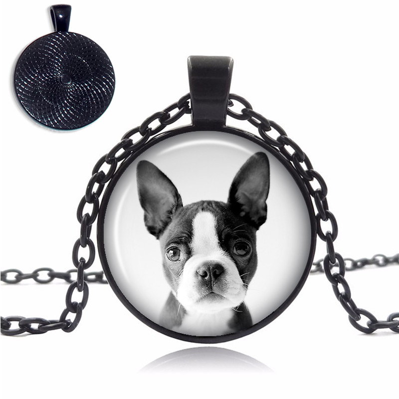 Boston Terrier Puppy Glass Dome Necklace