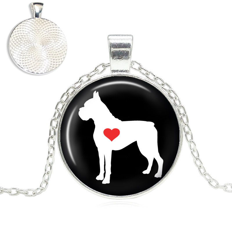 Boxer Love Glass Dome Necklace