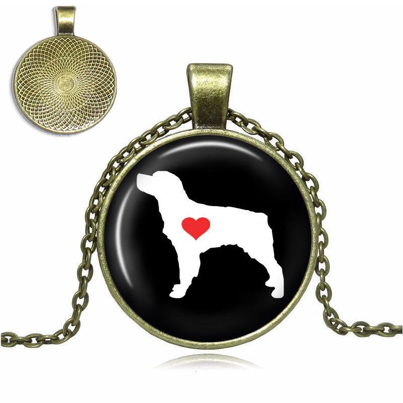 Brittany Spaniel Love Glass Dome Necklace