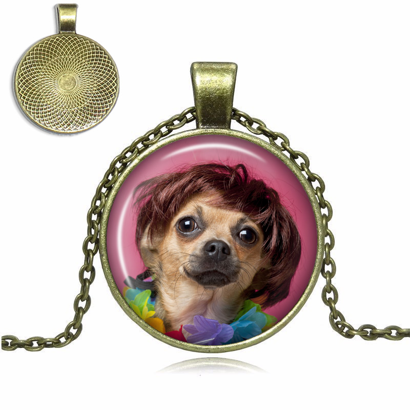 Brown Chihuahua Glass Dome Necklace