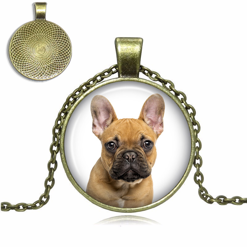 Brown French Bulldog Glass Dome Necklace