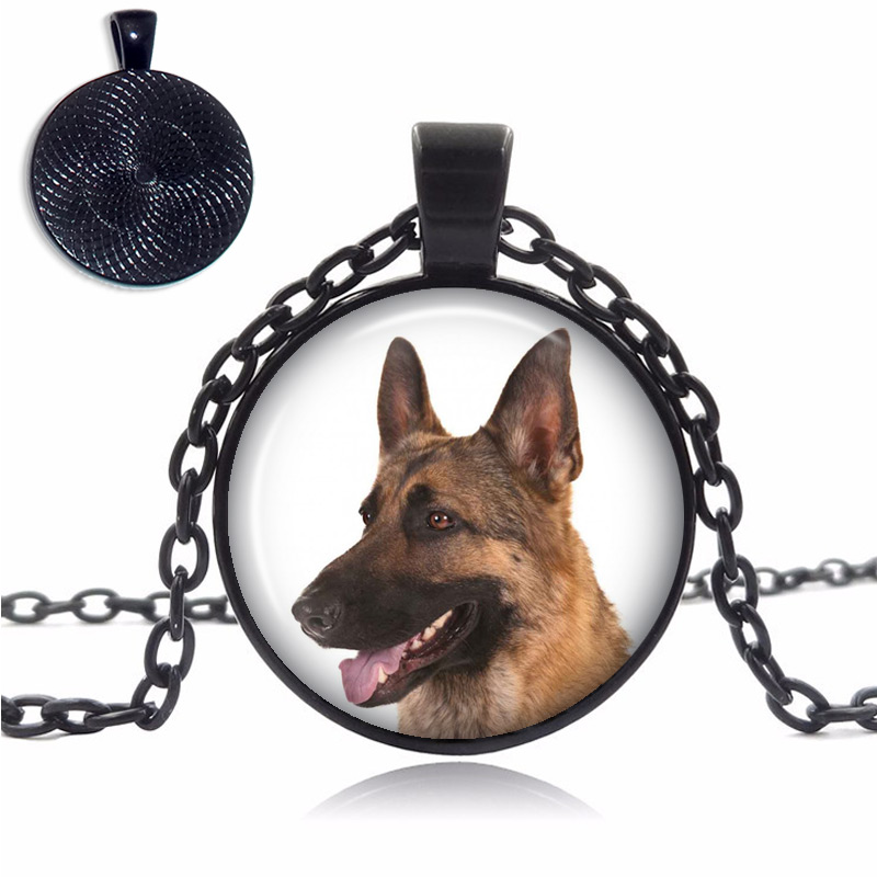 Brown German Shepherd Glass Dome Necklace