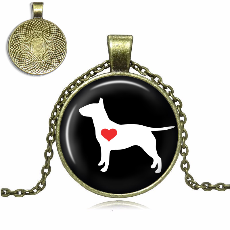 Bull Terrier Love Glass Dome Necklace