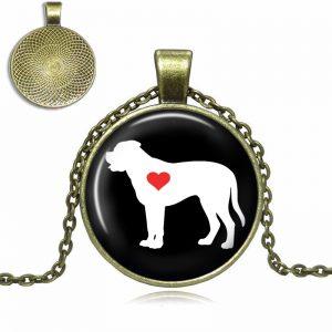 Bullmastiff Love Glass Dome Necklace