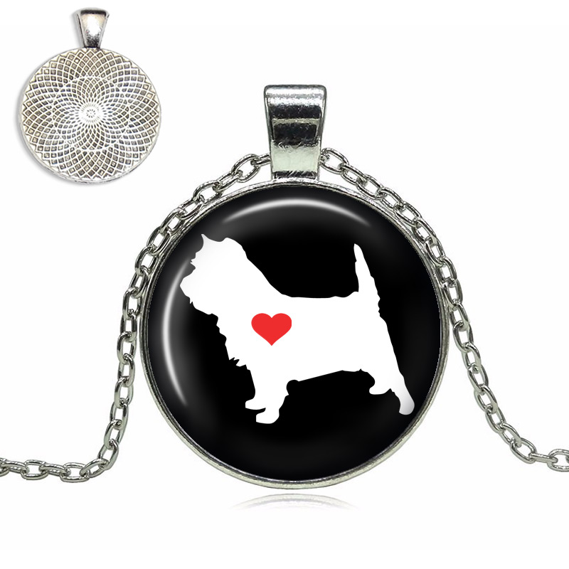 Cairn Terrier Love Glass Dome Necklace