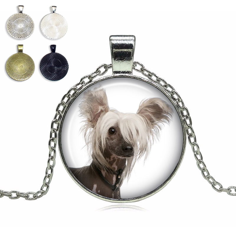 Chinese Crested Glass Dome Necklace