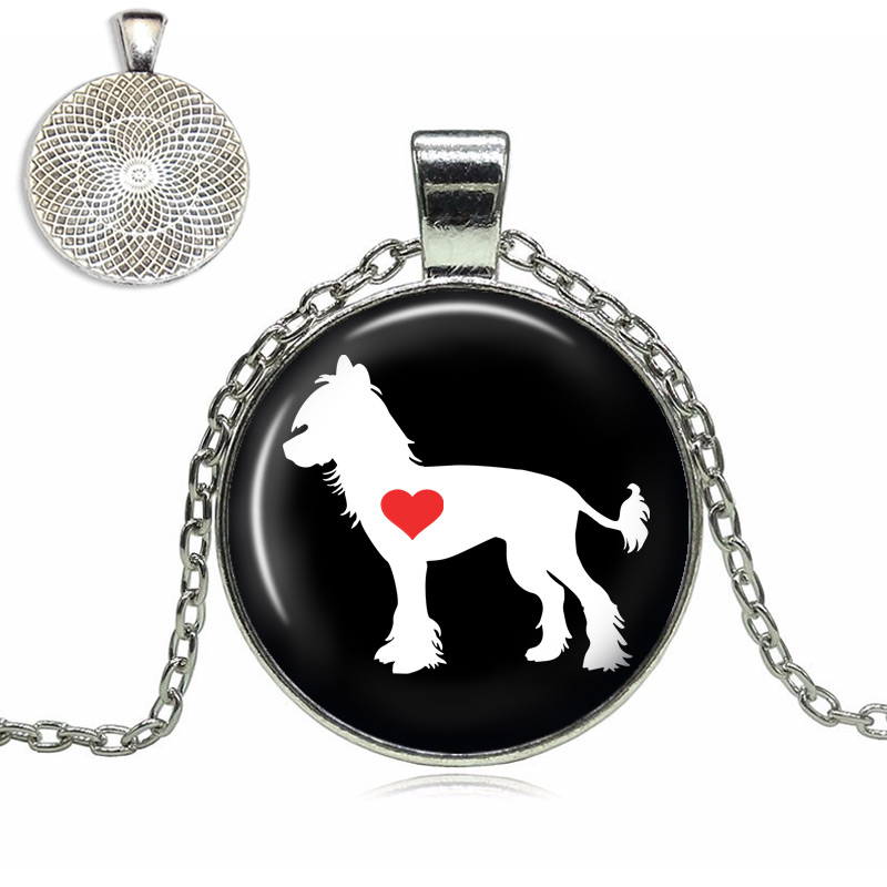 Chinese Crested Love Glass Dome Necklace