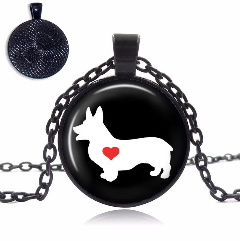 Corgi Love Glass Dome Necklace