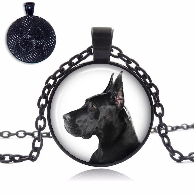 Cropped Ears Great Dane Glass Dome Necklace