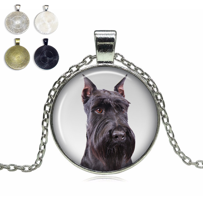 Cropped Ears Schnauzer Glass Dome Necklace
