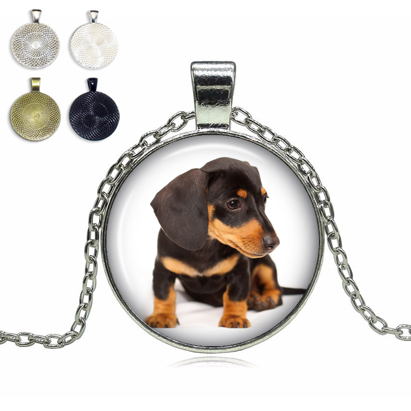 Dachshund Glass Dome Necklace