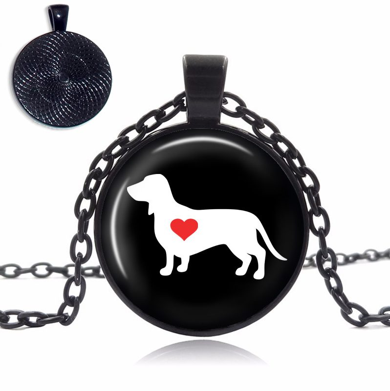 Dachshund Love Glass Dome Necklace