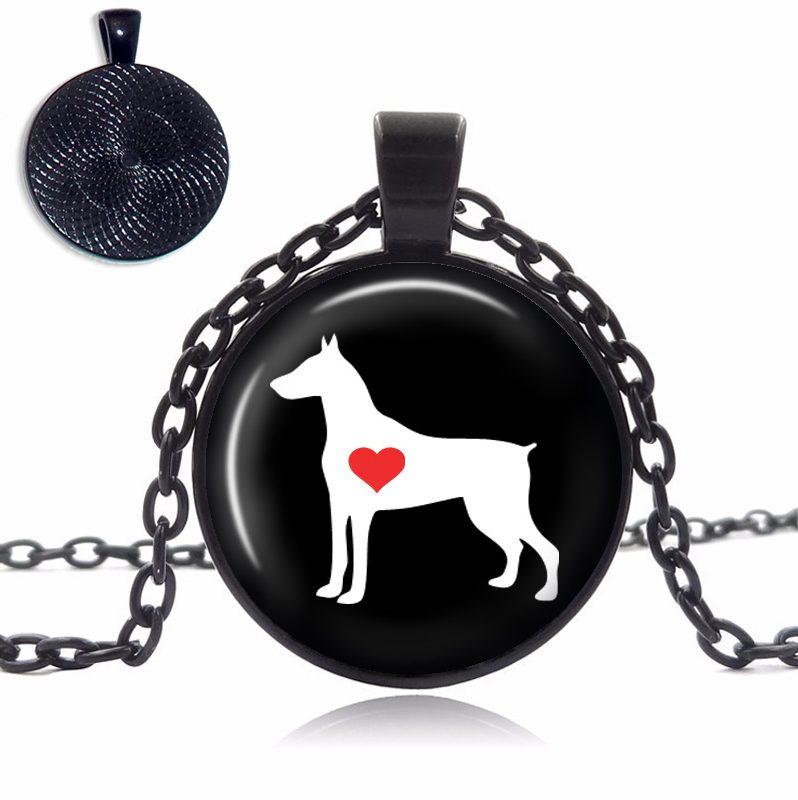 Doberman Love Glass Dome Necklace