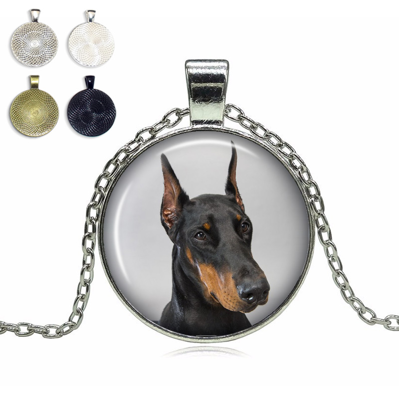 Doberman Pinscher Glass Dome Necklace