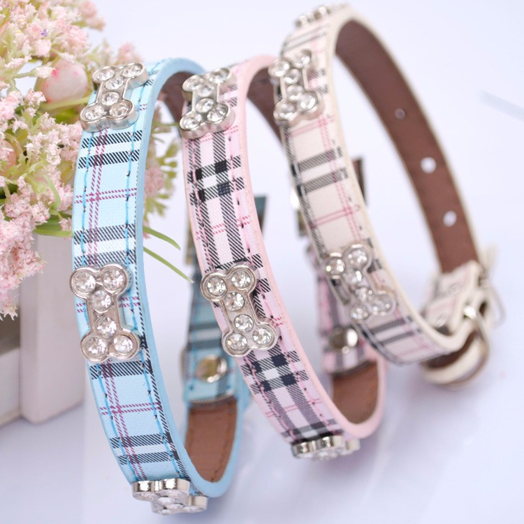 Dog Collar – Plaid with Bone Rhinestone
