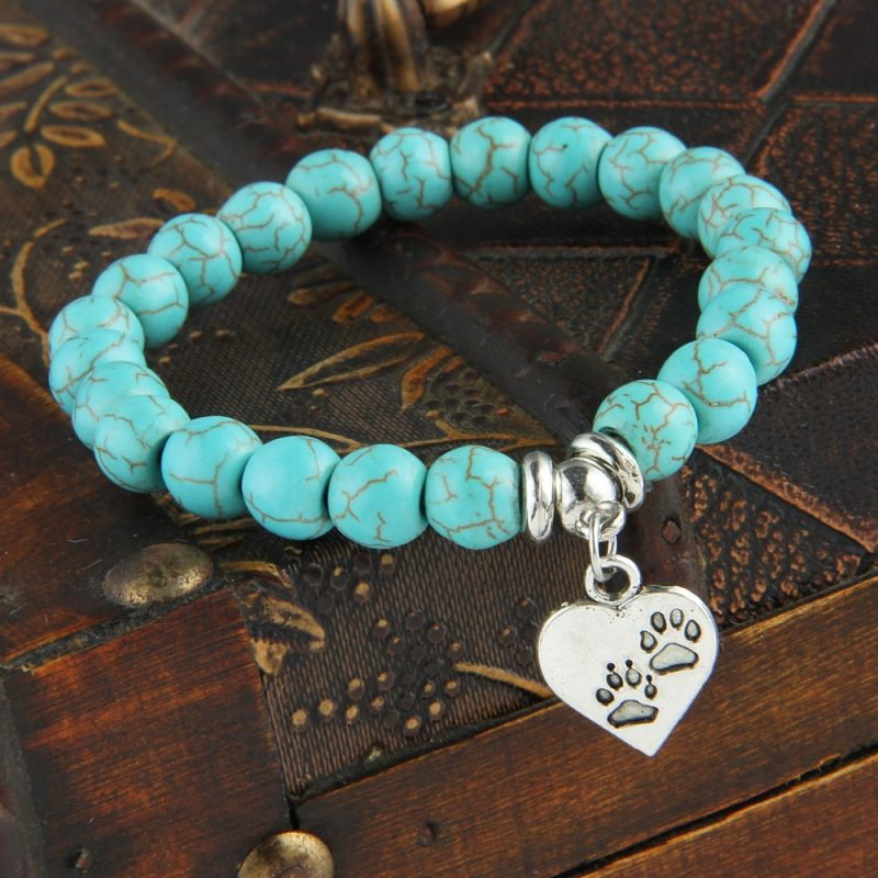 Pet Lovers Turquoise Beaded Bracelet
