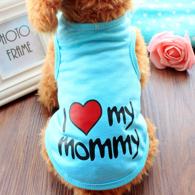 Dog Tshirt Love My Mommy Daddy Top Pet Gifts