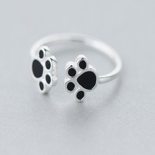 Double Dog Paw Adjustable Ring