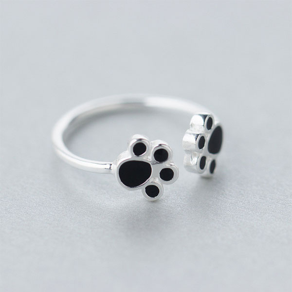 Double Dog Paw Adjustable Ring