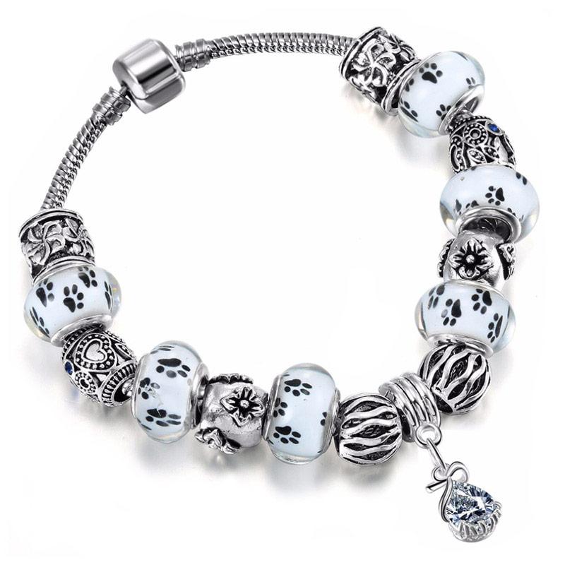 Paw Print European Charm Bead Bracelet