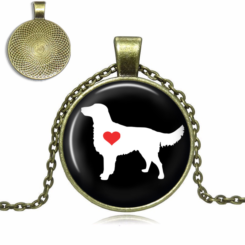 Flat Coated Retriever Love Glass Dome Necklace