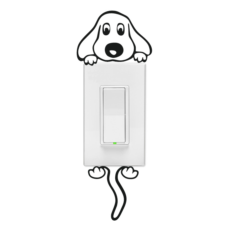 Floppy Ear Dog Wall Light Switch Decal
