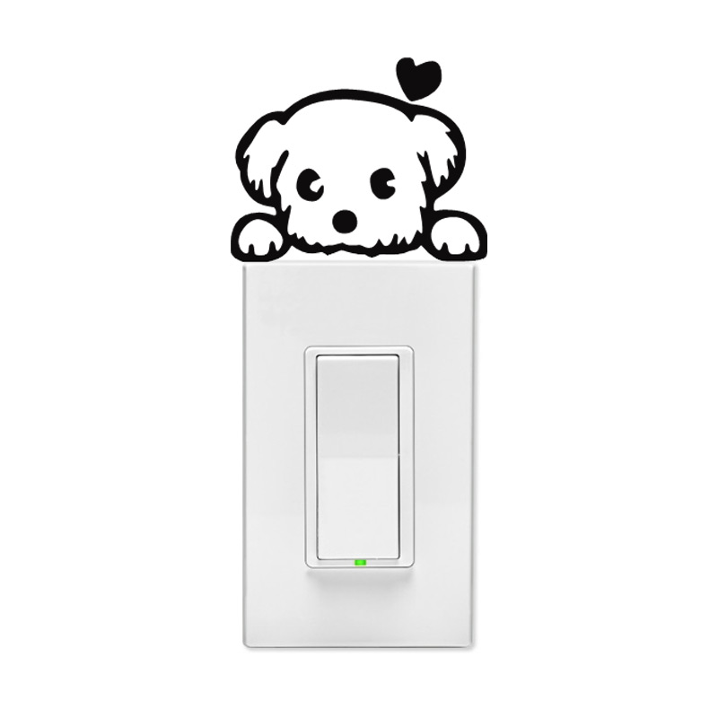 Fluffy Puppy Wall Light Switch Decal